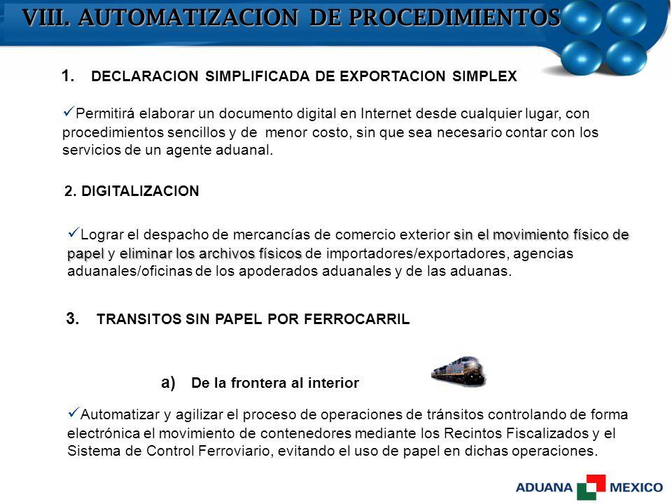 VIII. AUTOMATIZACION DE PROCEDIMIENTOS