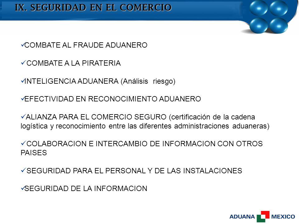 IX. SEGURIDAD EN EL COMERCIO