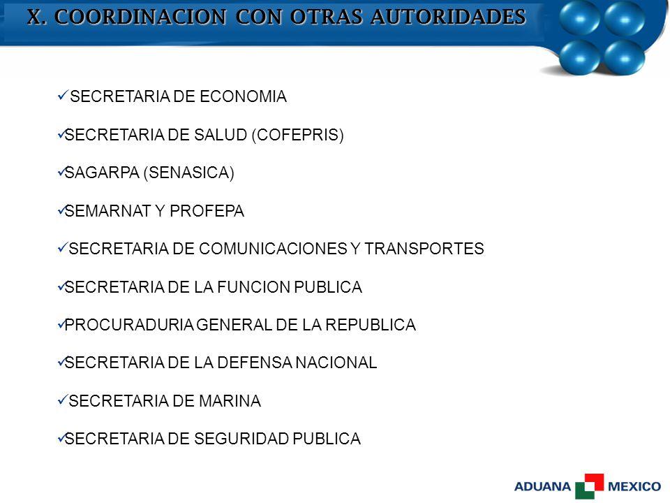 X. COORDINACION CON OTRAS AUTORIDADES