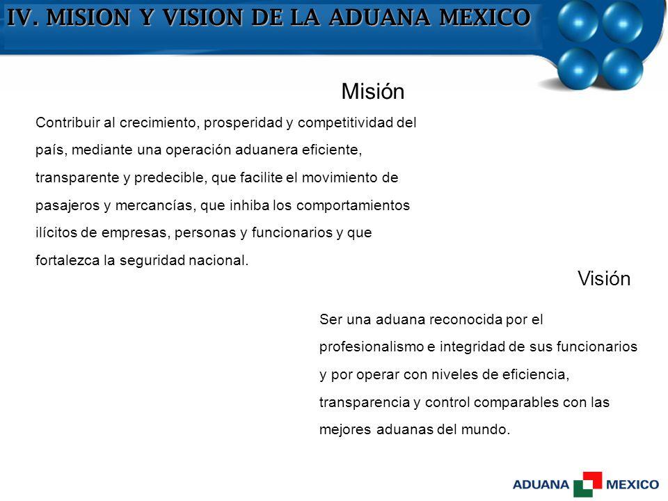 IV. MISION Y VISION DE LA ADUANA MEXICO