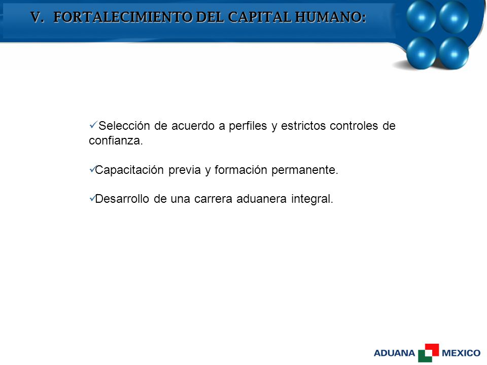 V. FORTALECIMIENTO DEL CAPITAL HUMANO: