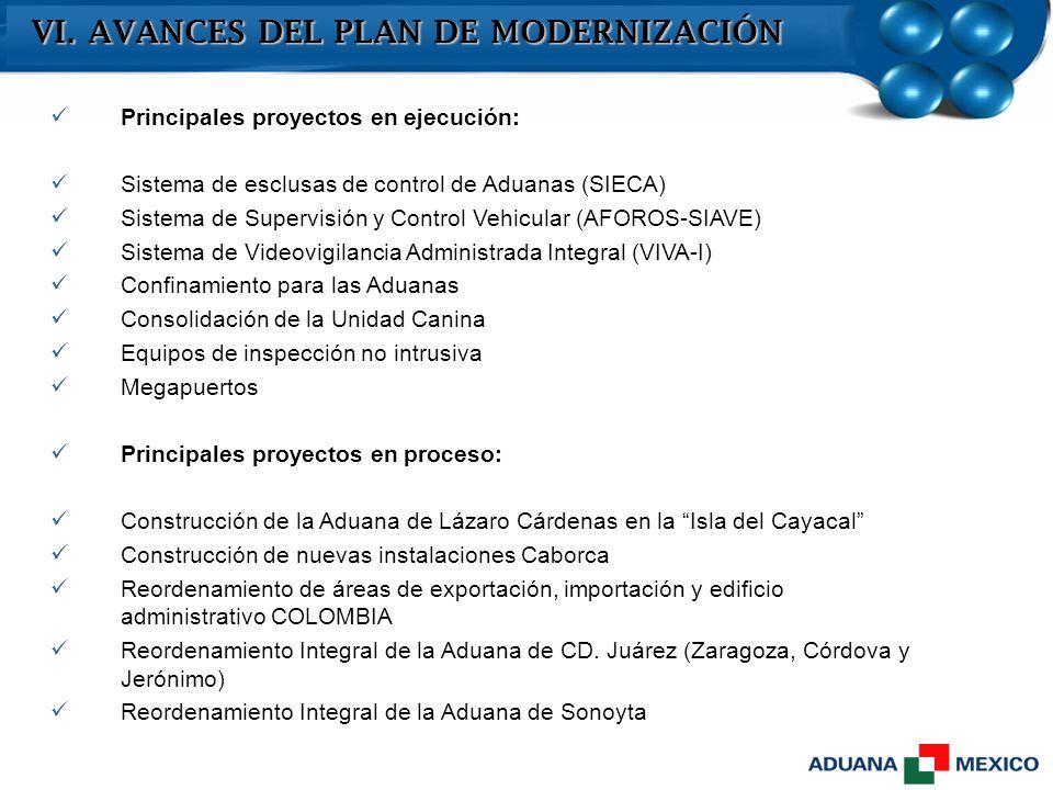 VI. AVANCES DEL PLAN DE MODERNIZACIÓN