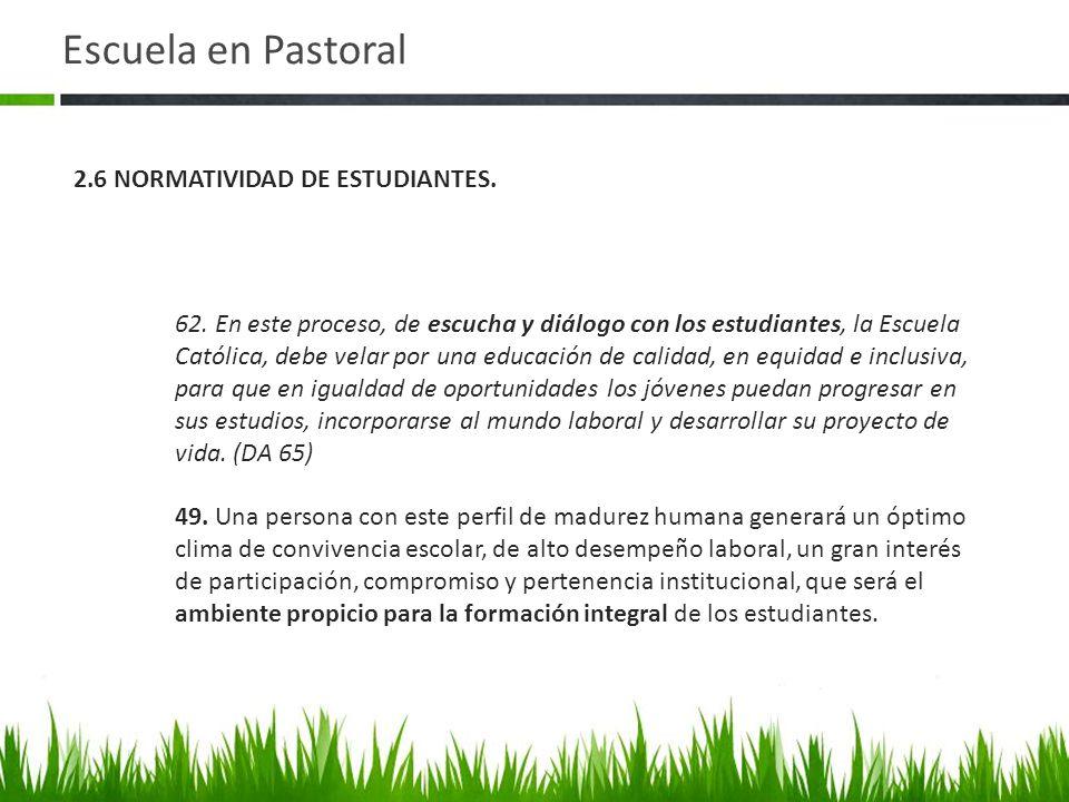 Escuela en Pastoral 2.6 NORMATIVIDAD DE ESTUDIANTES.