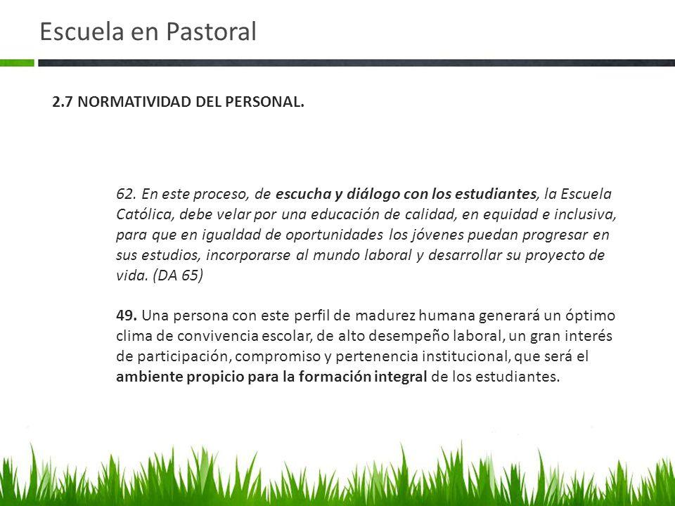 Escuela en Pastoral 2.7 NORMATIVIDAD DEL PERSONAL.