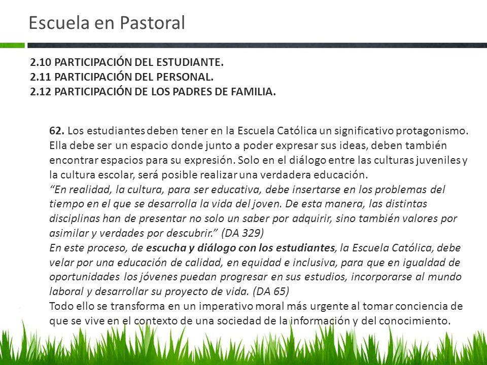 Escuela en Pastoral 2.10 PARTICIPACIÓN DEL ESTUDIANTE.