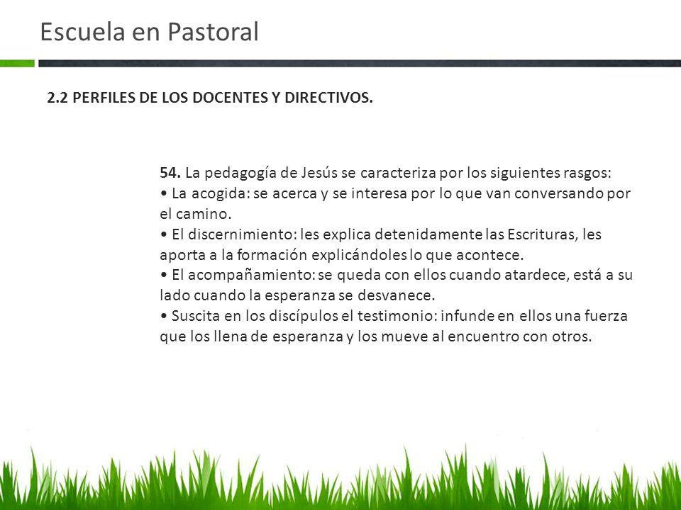 Escuela en Pastoral 2.2 PERFILES DE LOS DOCENTES Y DIRECTIVOS.