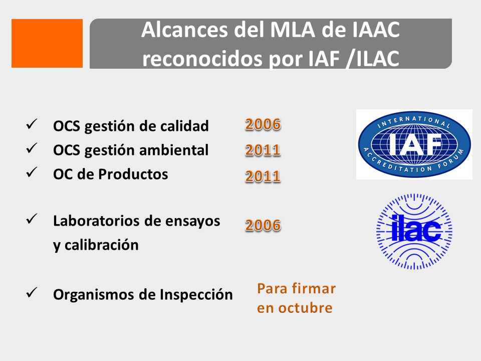 Alcances del MLA de IAAC reconocidos por IAF /ILAC