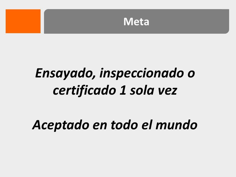 Ensayado, inspeccionado o certificado 1 sola vez