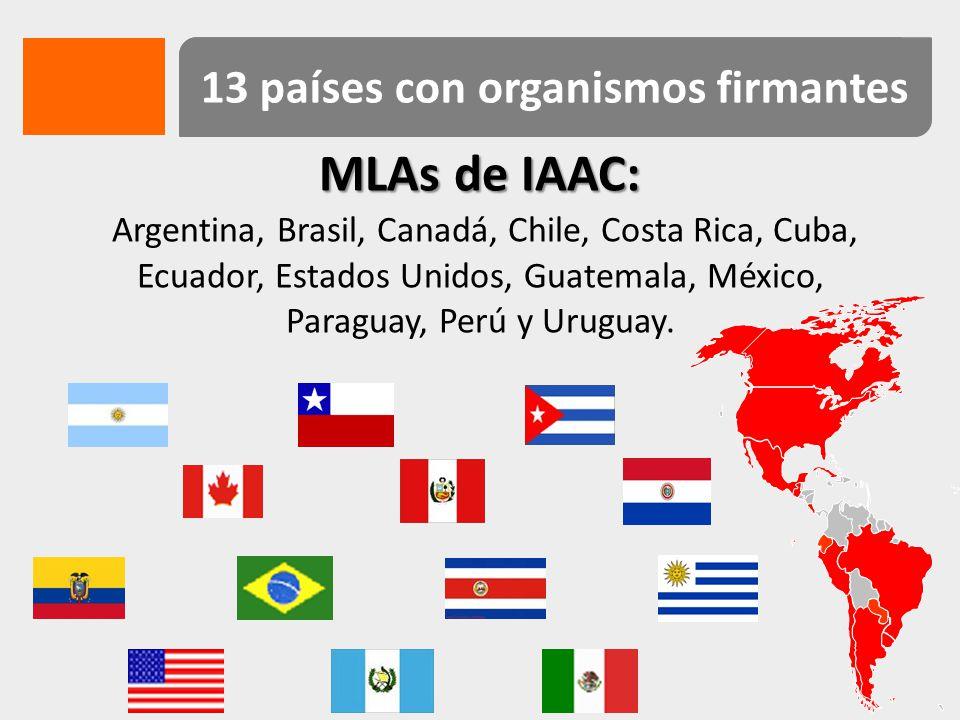 13 países con organismos firmantes