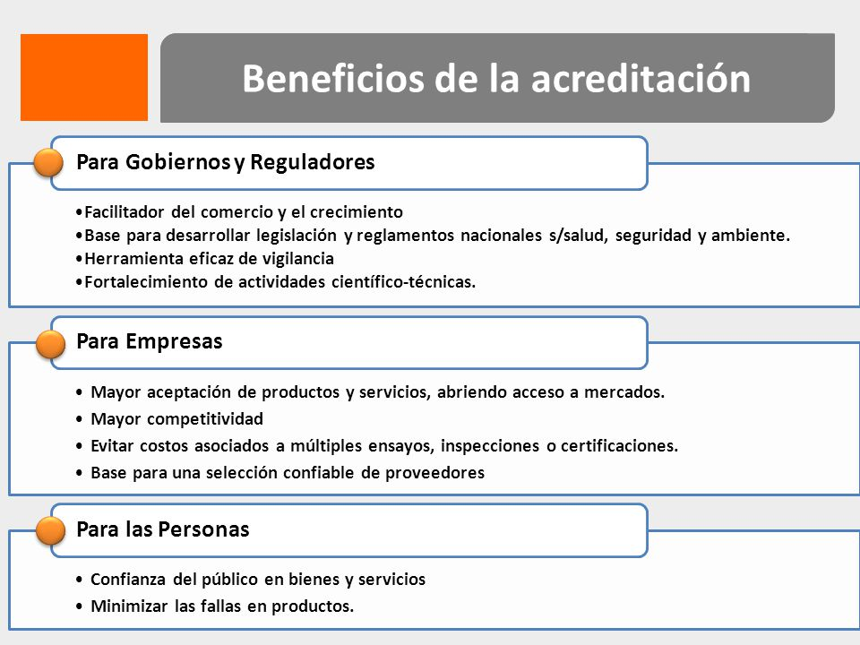 Beneficios de la acreditación