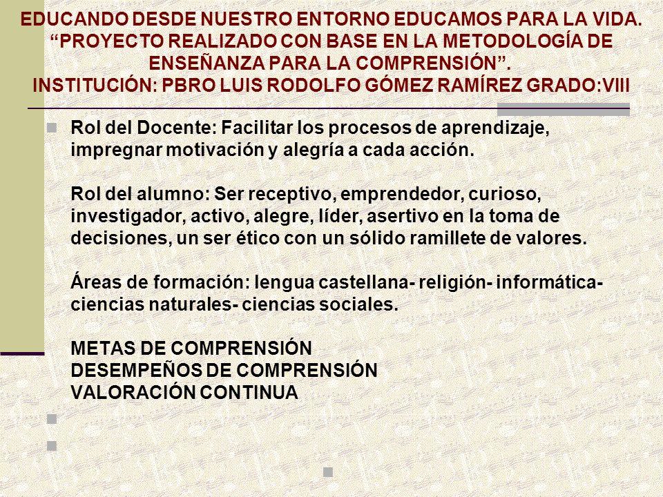 EDUCANDO DESDE NUESTRO ENTORNO EDUCAMOS PARA LA VIDA