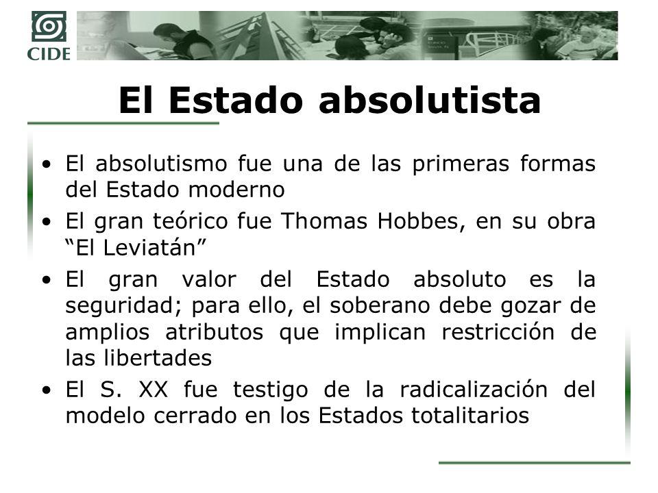 El Estado absolutista El absolutismo fue una de las primeras formas del Estado moderno. El gran teórico fue Thomas Hobbes, en su obra El Leviatán