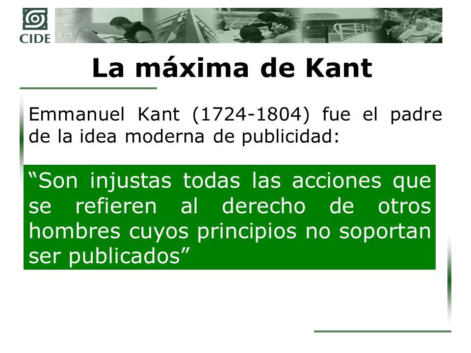 La máxima de Kant Emmanuel Kant (1724-1804) fue el padre de la idea moderna de publicidad: