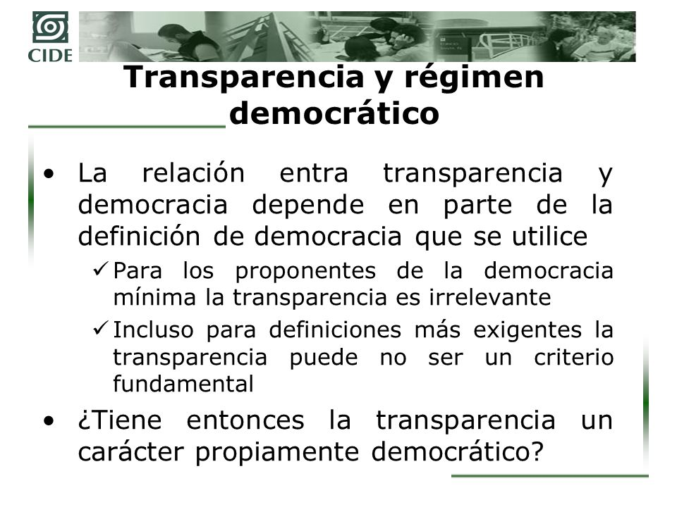 Transparencia y régimen democrático