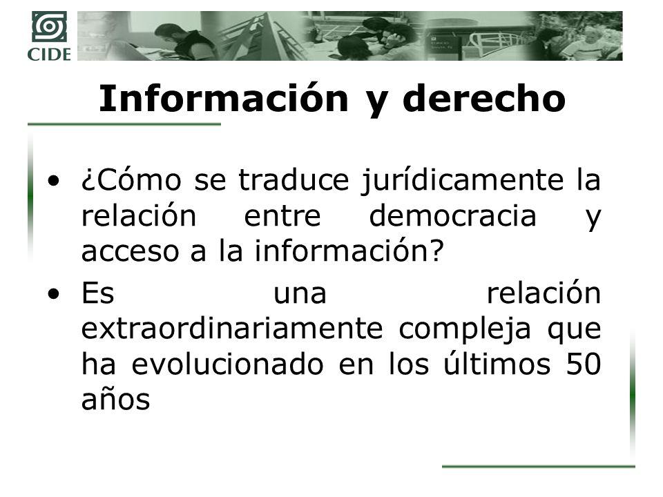 Información y derecho ¿Cómo se traduce jurídicamente la relación entre democracia y acceso a la información