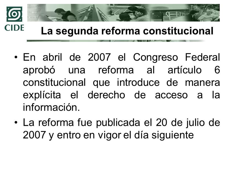 La segunda reforma constitucional