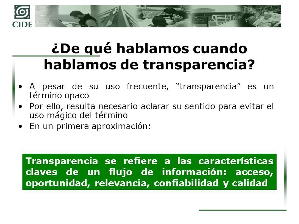 ¿De qué hablamos cuando hablamos de transparencia