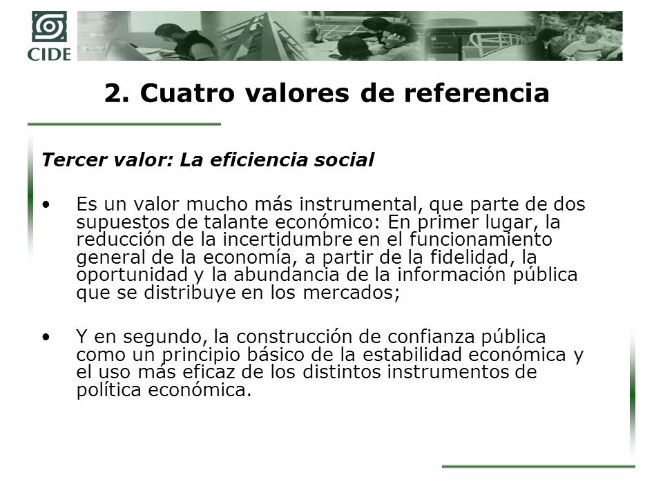 2. Cuatro valores de referencia