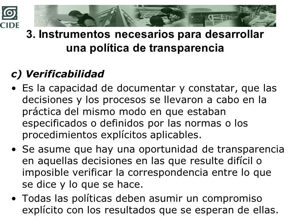 3. Instrumentos necesarios para desarrollar una política de transparencia