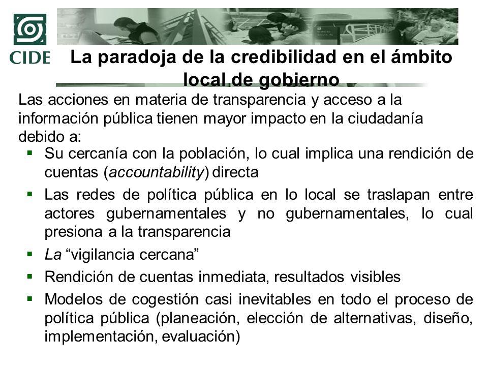 La paradoja de la credibilidad en el ámbito local de gobierno