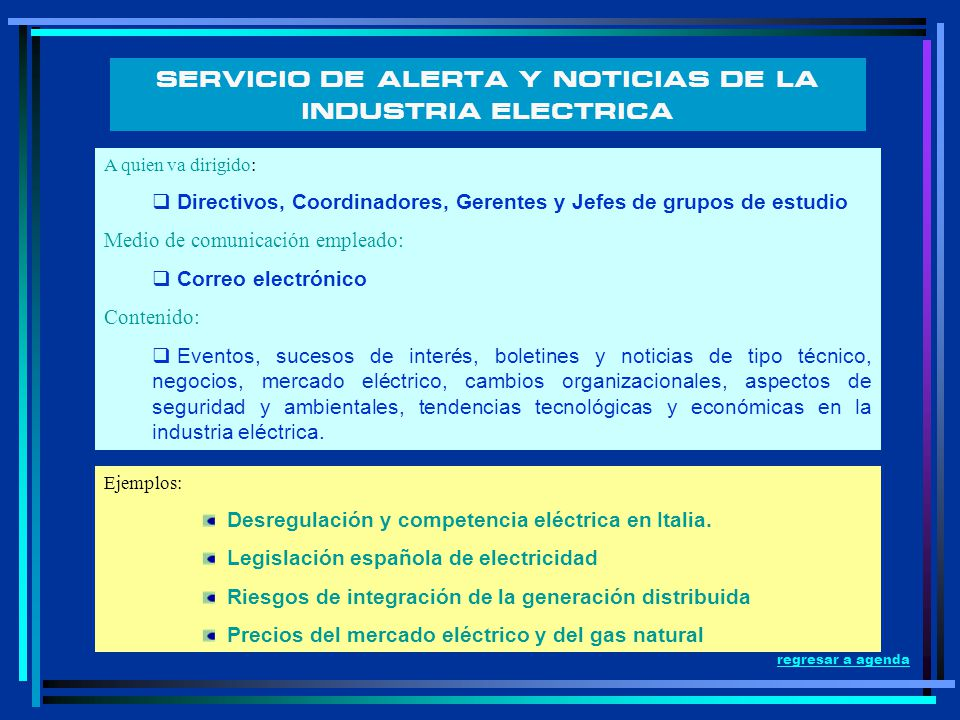SERVICIO DE ALERTA Y NOTICIAS DE LA INDUSTRIA ELECTRICA