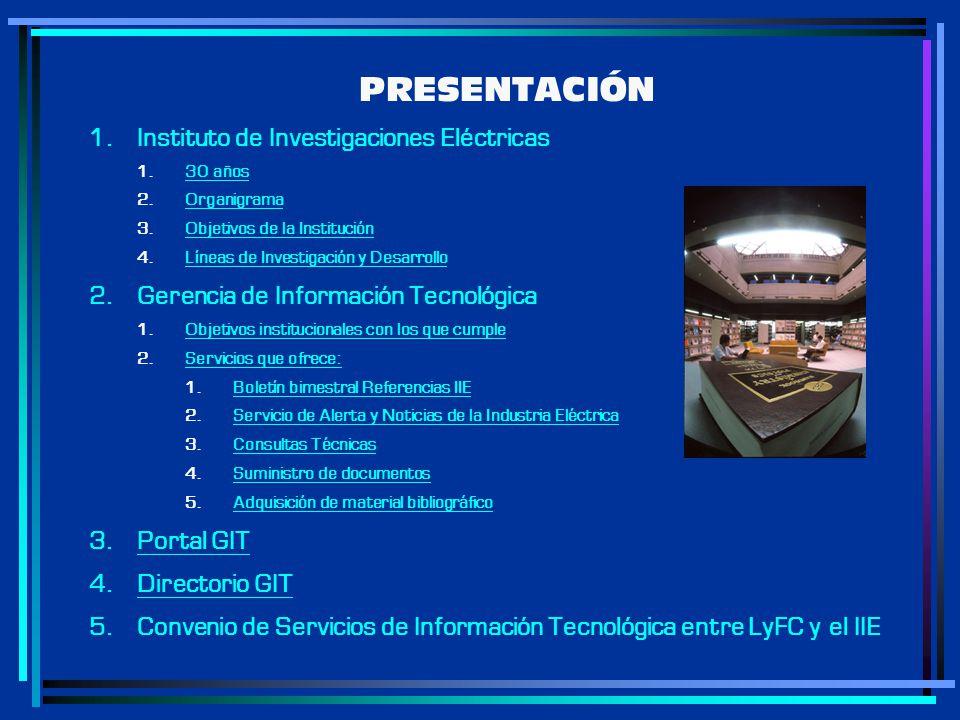 PRESENTACIÓN Instituto de Investigaciones Eléctricas