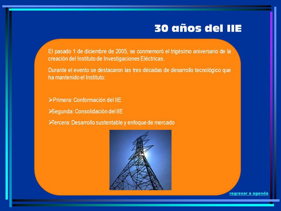 30 años del IIE El pasado 1 de diciembre de 2005, se conmemoró el trigésimo aniversario de la creación del Instituto de Investigaciones Eléctricas.