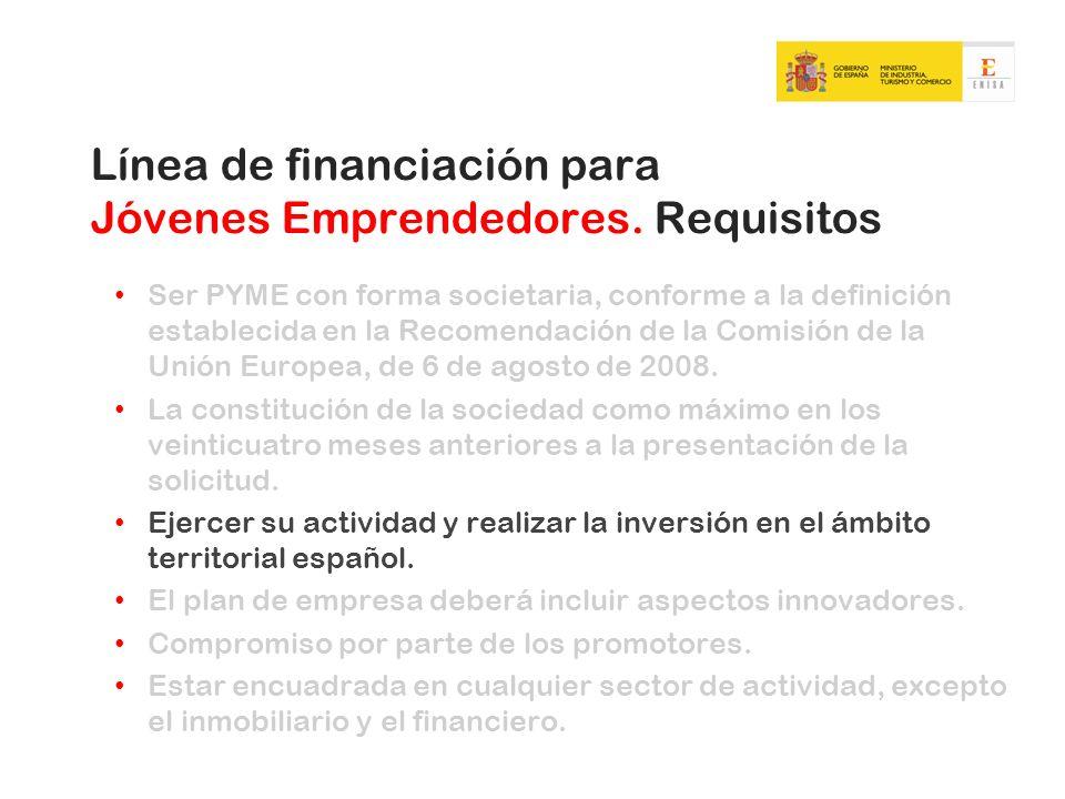 Línea de financiación para Jóvenes Emprendedores. Requisitos