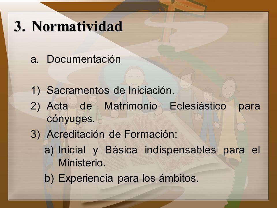 Normatividad Documentación Sacramentos de Iniciación.