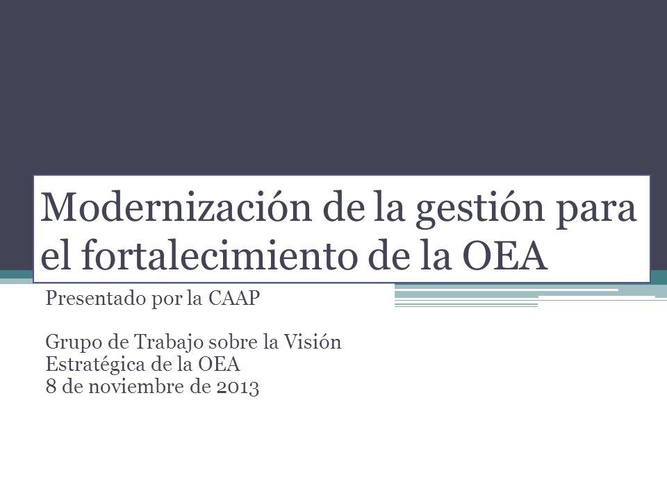 Modernización de la gestión para el fortalecimiento de la OEA