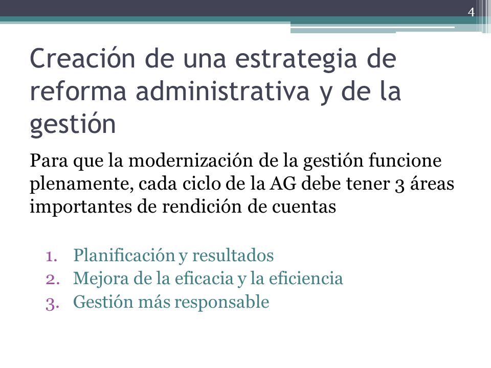 Creación de una estrategia de reforma administrativa y de la gestión