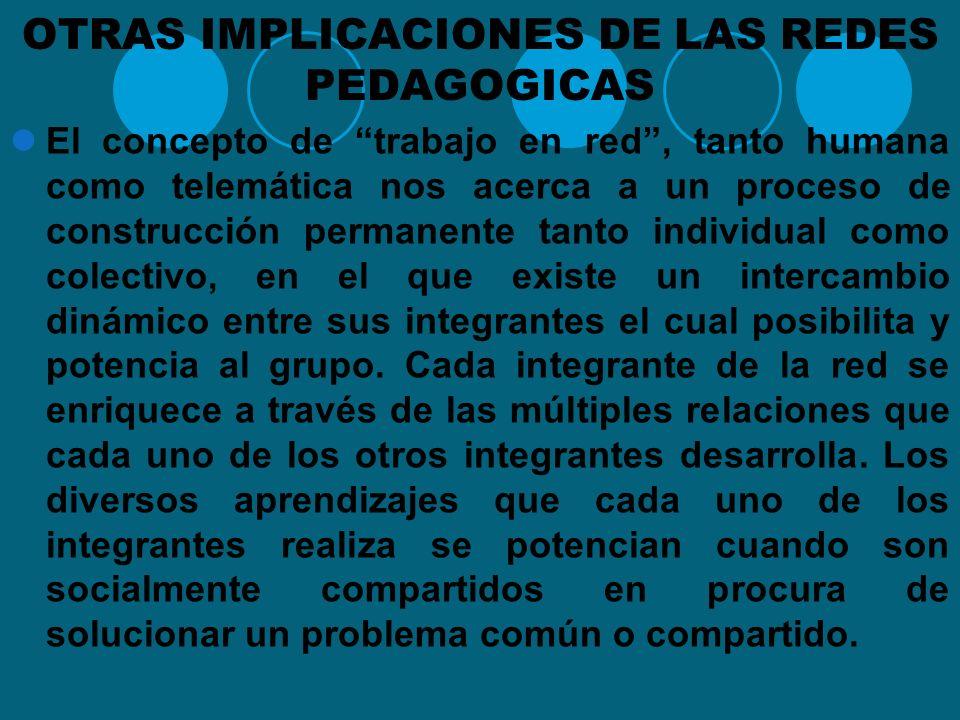 OTRAS IMPLICACIONES DE LAS REDES PEDAGOGICAS