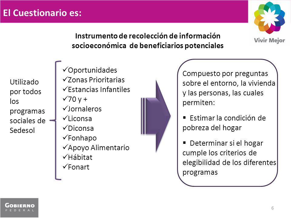 El Cuestionario es: Instrumento de recolección de información socioeconómica de beneficiarios potenciales.