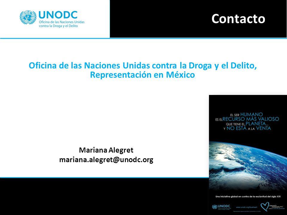 Contacto Oficina de las Naciones Unidas contra la Droga y el Delito, Representación en México. Mariana Alegret.