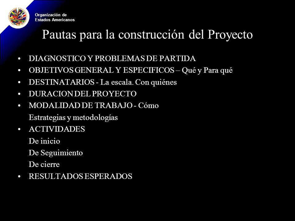 Pautas para la construcción del Proyecto