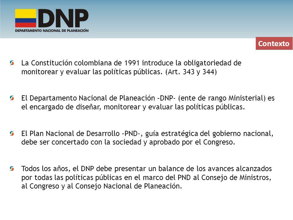 Contexto La Constitución colombiana de 1991 introduce la obligatoriedad de monitorear y evaluar las políticas públicas. (Art. 343 y 344)