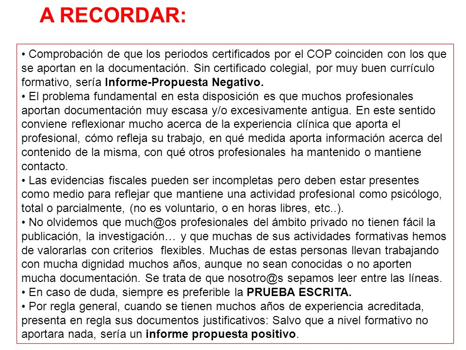 A RECORDAR: