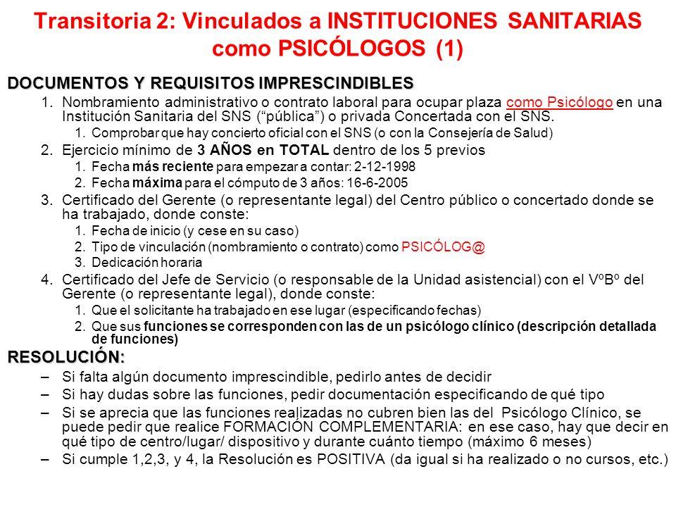 Transitoria 2: Vinculados a INSTITUCIONES SANITARIAS como PSICÓLOGOS (1)