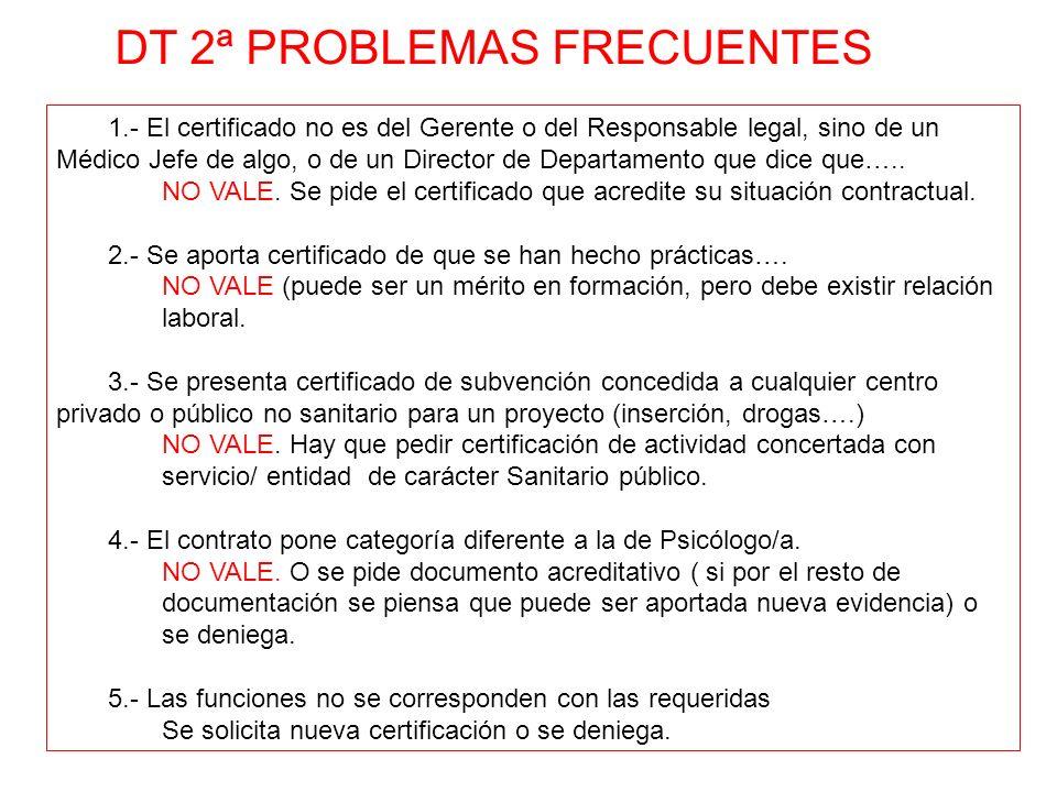 DT 2ª PROBLEMAS FRECUENTES