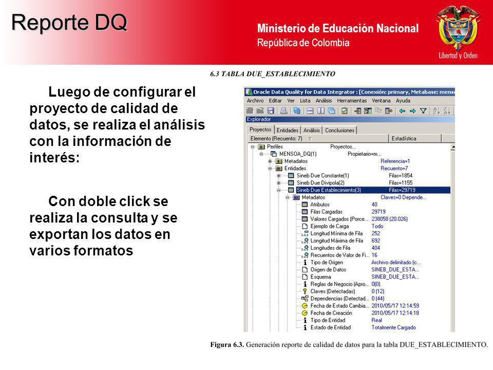 Reporte DQ Luego de configurar el proyecto de calidad de datos, se realiza el análisis con la información de interés: