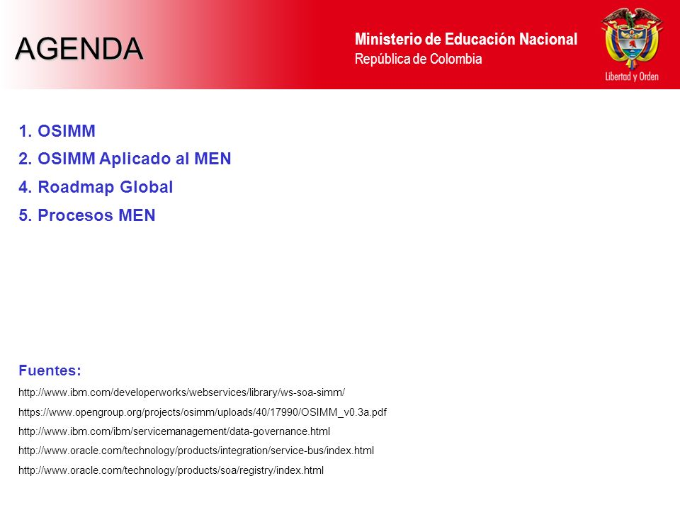 AGENDA 1. OSIMM 2. OSIMM Aplicado al MEN 4. Roadmap Global