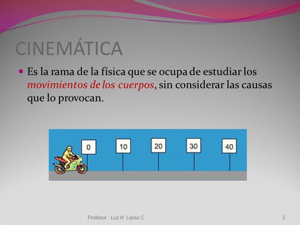 CINEMÁTICA Es la rama de la física que se ocupa de estudiar los movimientos de los cuerpos, sin considerar las causas que lo provocan.