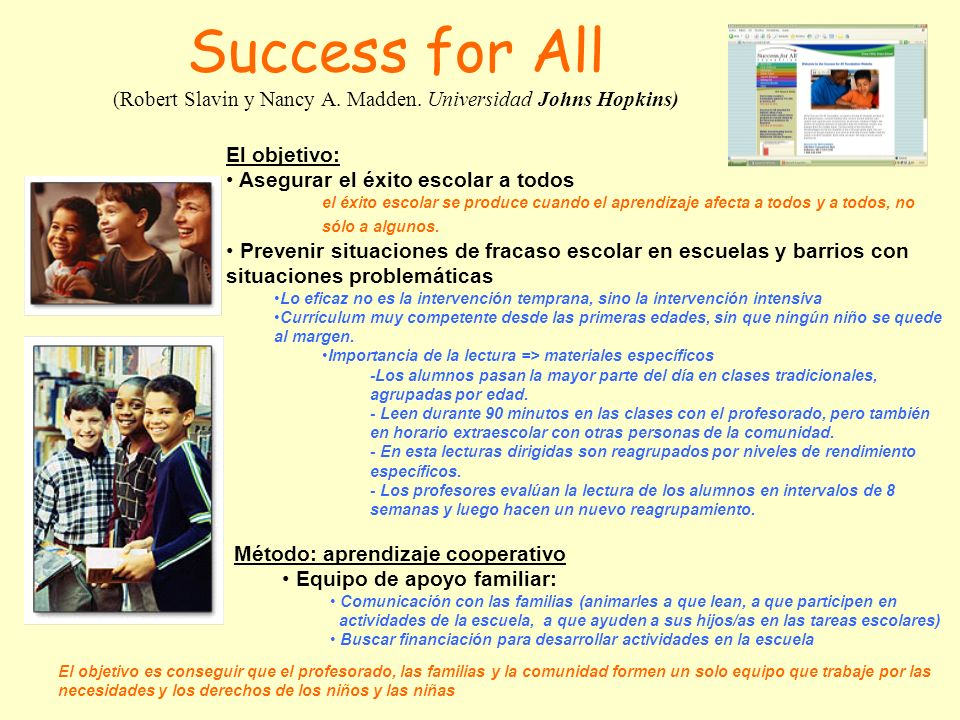 Success for All (Robert Slavin y Nancy A. Madden