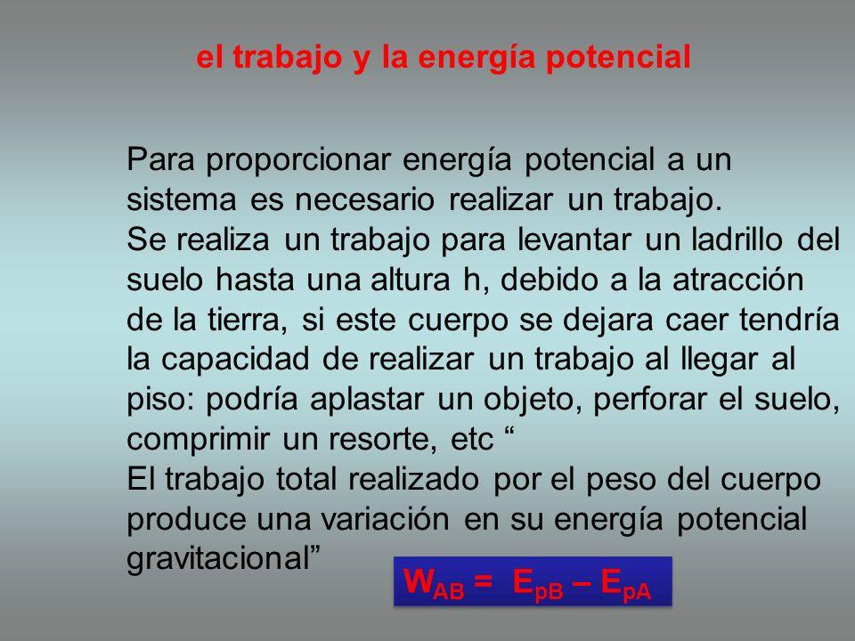 el trabajo y la energía potencial