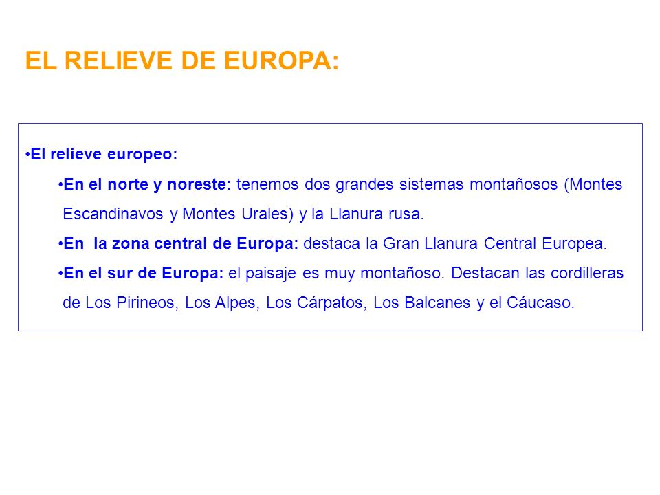 EL RELIEVE DE EUROPA: El relieve europeo: