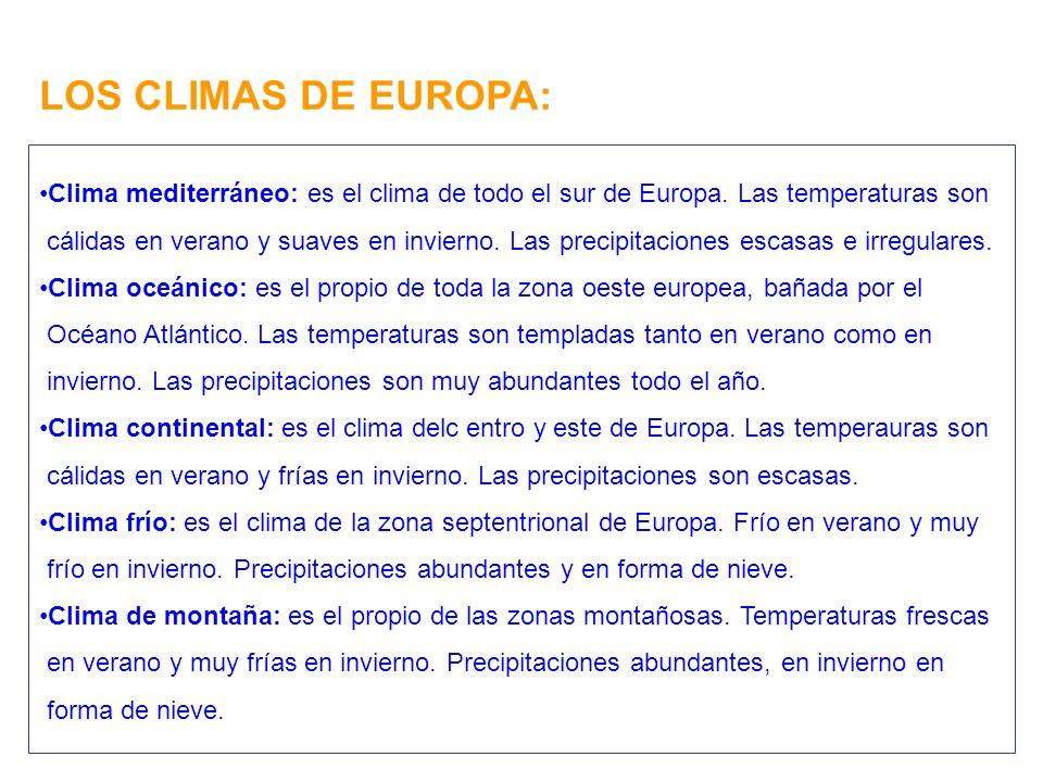 LOS CLIMAS DE EUROPA: Clima mediterráneo: es el clima de todo el sur de Europa. Las temperaturas son.