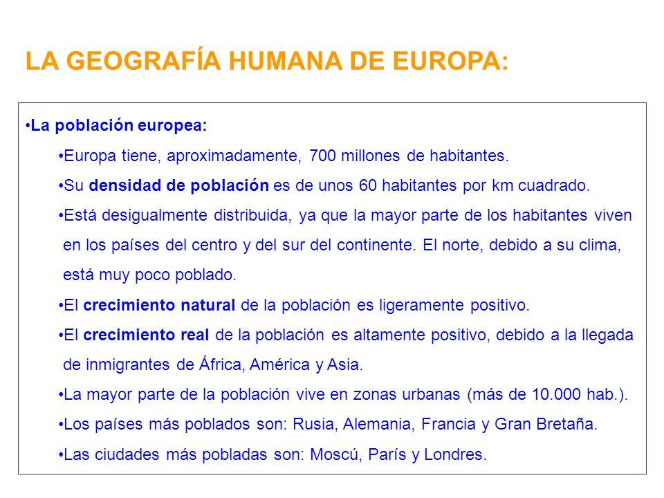 LA GEOGRAFÍA HUMANA DE EUROPA: