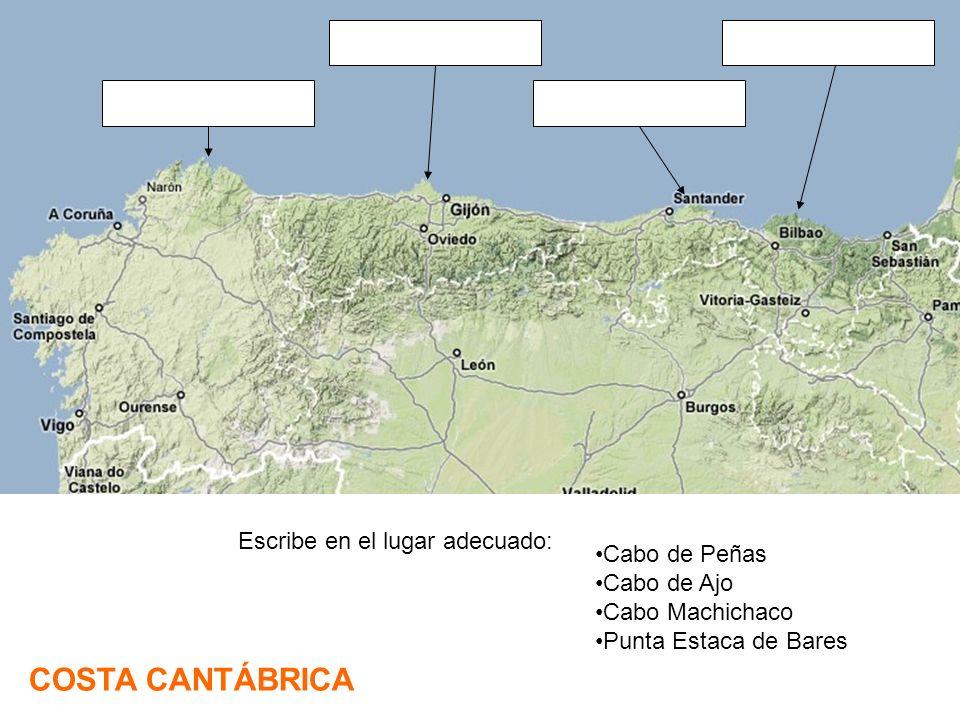 COSTA CANTÁBRICA Escribe en el lugar adecuado: Cabo de Peñas