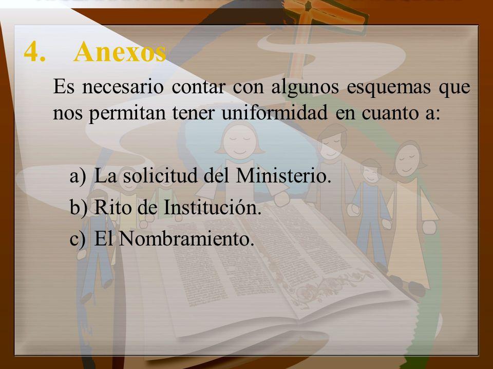 4. Anexos Es necesario contar con algunos esquemas que nos permitan tener uniformidad en cuanto a: La solicitud del Ministerio.