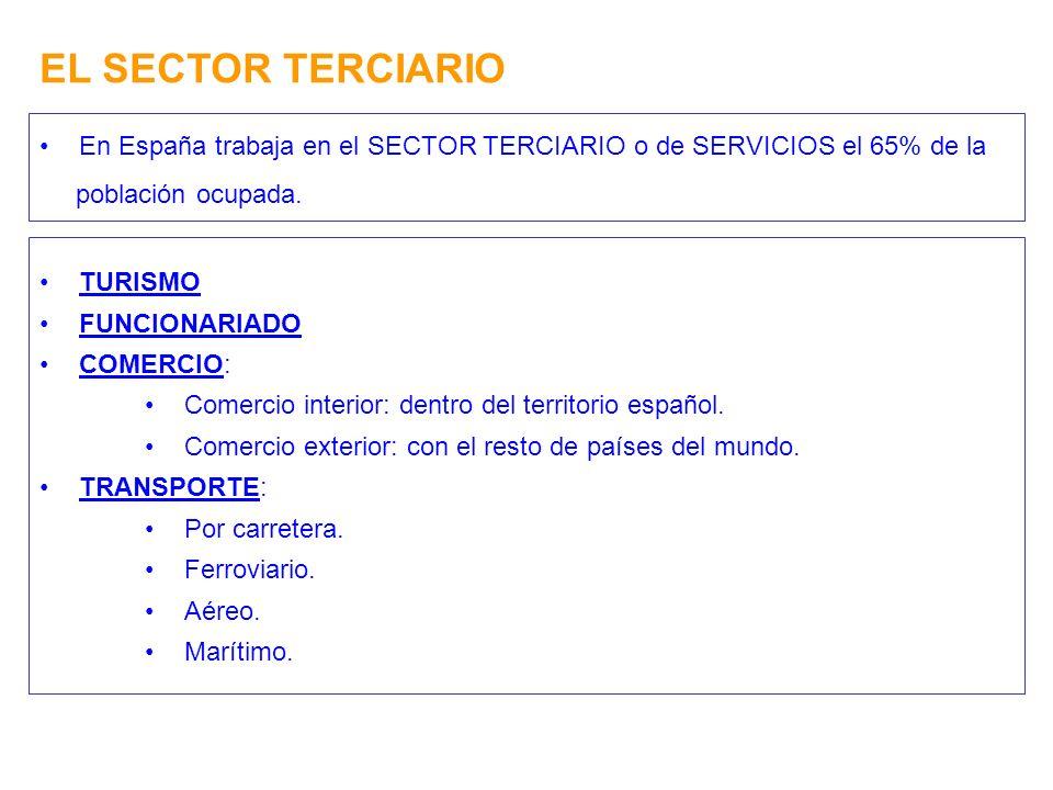 EL SECTOR TERCIARIO En España trabaja en el SECTOR TERCIARIO o de SERVICIOS el 65% de la. población ocupada.